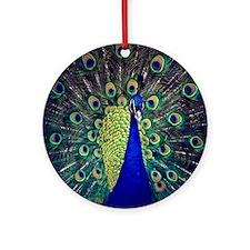 Cobalt Blue Peacock Ornament (Round)