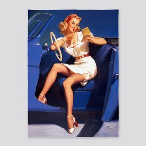 Pinup Girl And Blue Car, Vintage Art 5'x7'area Rug