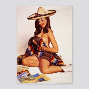 Pinup Girl In Sombrero And Serape; 5'x7'area Rug
