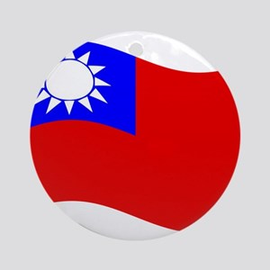 Waving Taiwan Flag Ornament (Round)