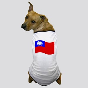 Waving Taiwan Flag Dog T-Shirt