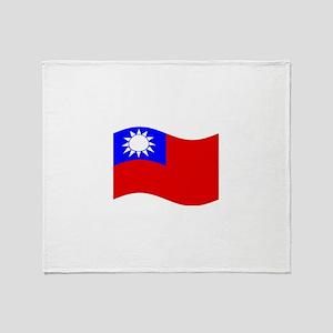Waving Taiwan Flag Throw Blanket
