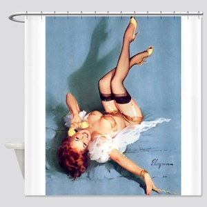 Pinup Girl On The Phone: Vintage Shower Curtain