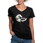 Hokusai Wave Women's V-Neck Dark T-Shirt