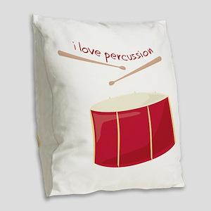 I Love Percussion Burlap Throw Pillow