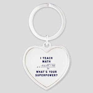 I Teach Math / What's Your Superpow Heart Keychain