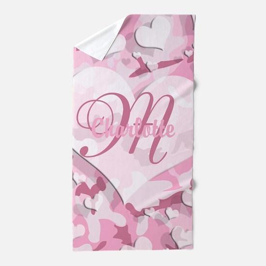 Monogram Pink Camouflage Heart Beach Towel