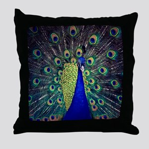 Cobalt Blue Peacock Throw Pillow