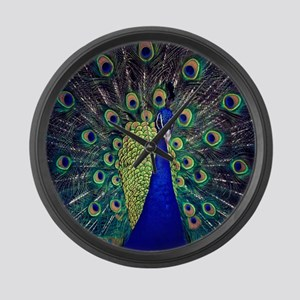 Cobalt Blue Peacock Large Wall Clock