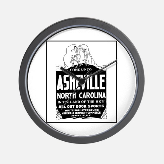 Asheville NC - Vintage Ad Wall Clock