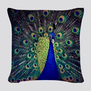 Cobalt Blue Peacock Woven Throw Pillow