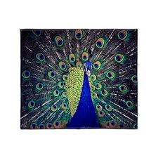 Cobalt Blue Peacock Throw Blanket