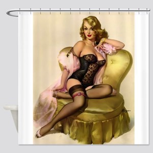 Pinup Girl On Satin Chair; Vintage Shower Curtain