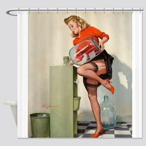 Pinup Girl And Water Cooler; Shower Curtain