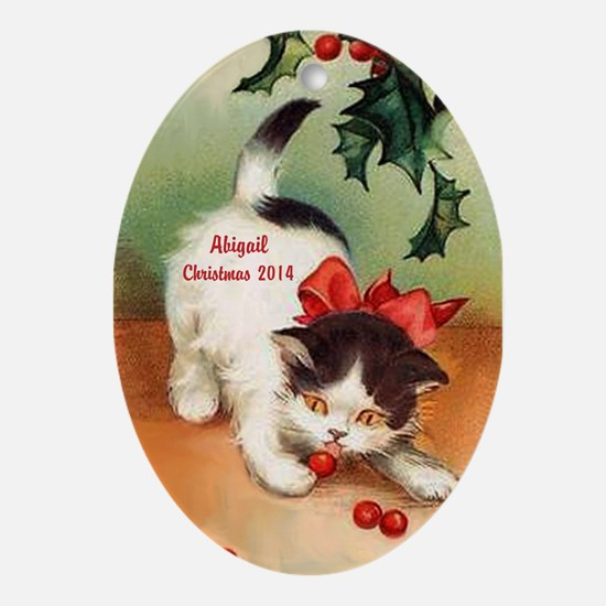Personalized Christmas Kitten Ornament (oval)