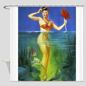 Pin Up Girl, Snorkler, Vintage Art Shower Curtain