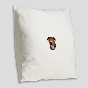 Pitbull head portrait Burlap Throw Pillow