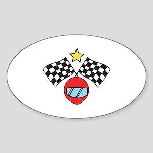 Helmet Checkered Flags Sticker