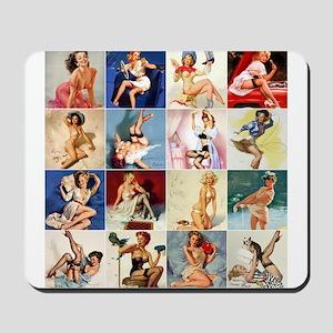 Pinup Girls Collage, Vintage Art Mousepad