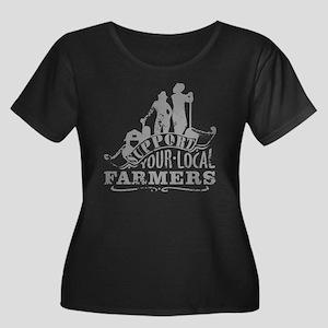 Suppor L Women's Plus Size Scoop Neck Dark T-Shirt