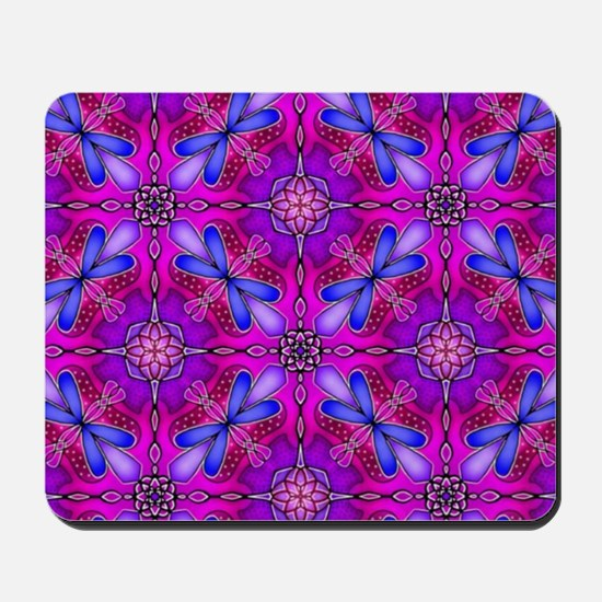Pink Celtic Knot Dragonflies Abstract Mousepad