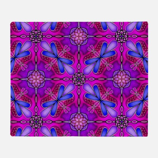 Pink Celtic Knot Dragonflies Abstrac Throw Blanket