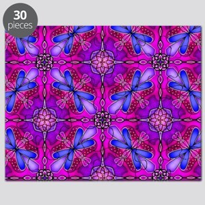 Pink Celtic Knot Dragonflies Abstract Puzzle