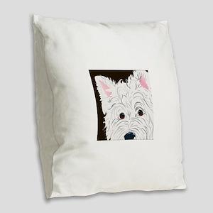 WESTIE3 Burlap Throw Pillow