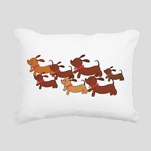 Running Weiner Dogs Rectangular Canvas Pillow