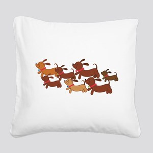 Running Weiner Dogs Square Canvas Pillow