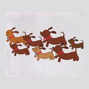 Running Weiner Dogs Throw Blanket
