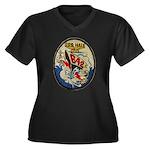 USS HALE Women's Plus Size V-Neck Dark T-Shirt
