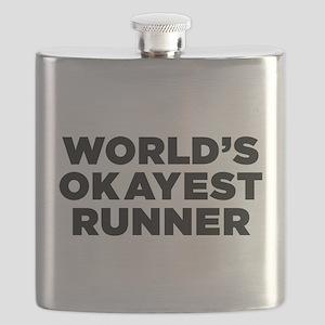 Worlds Okayest Runner - Black Print Flask