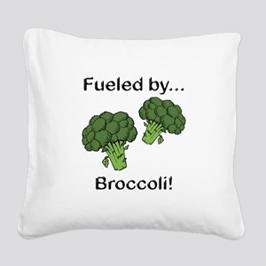 Fueled by Broccoli Square Canvas Pillow