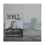 Devils Tower Stamp with background Tile Coaster