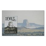 Devils Tower Stamp with background Sticker