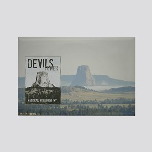 Devils Tower Stamp with background Magnets