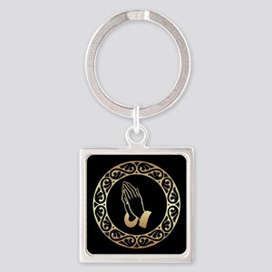 Gold Praying Hands Keychains