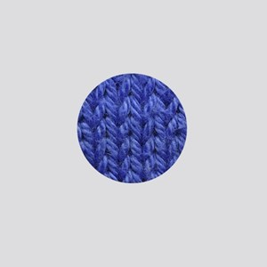 Knitting - Blue Knit Fabric Mini Button