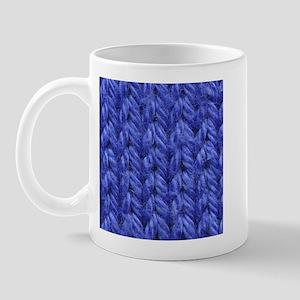 Knitting - Blue Knit Fabric Mug