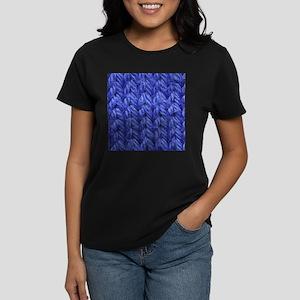 Knitting - Blue Knit Fabric Women's Dark T-Shirt