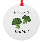 Broccoli Junkie Round Ornament