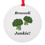 Broccoli Junkie Round Ornament