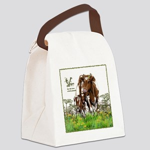 Vegan Cow And Calf Canvas Lunch Bag