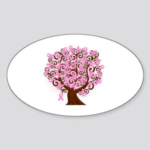 breast cancer pink ribbon tree Sticker (Oval)