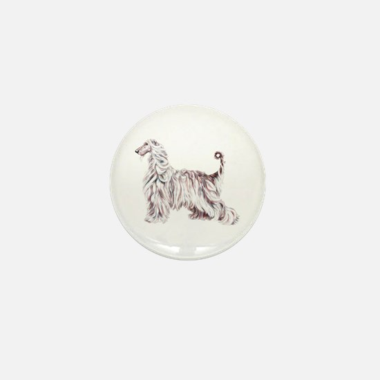 Afghan Hound Elegance Mini Button