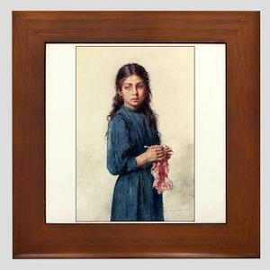 Girl Knitting - The Little Kn Framed Tile