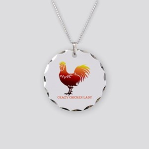 Crazy Chicken Lady Fun Quote Necklace Circle Charm