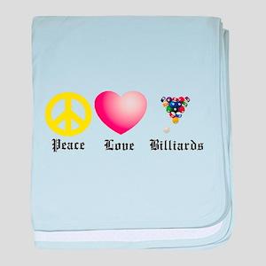 Peace, Love, Billiards baby blanket