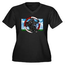 Black Cocker Women's Plus Size V-Neck Dark T-Shirt